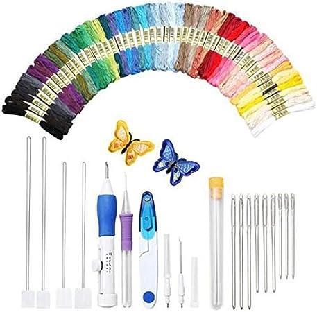Decoración para el hogar regalo ideal Juego de bolígrafos de bordado mágico, herramienta de artesanía de aguja de punzonado de bordado que incluye 50 hilos de color para bordadoras de hilo Herramienta: