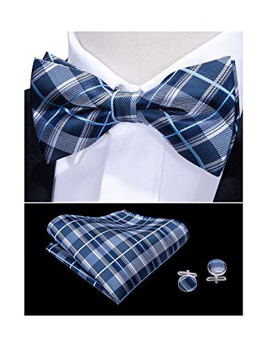 - Barry.Wang Mens Bow Tie Hankerchief Set, Silk Blue Check Bow Tie Pocket Square Cufflinks Set