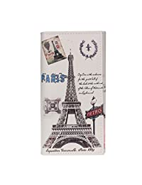Tonsee Beige Paris Car Long Purse Clutch Wallet Bag Card Holder