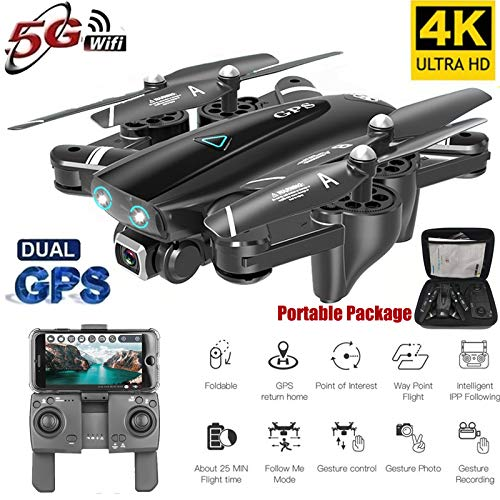 Wpond S167 GPS Drone con cámara 5G RC Quadcopter Drone 4K WiFi FPV Plegable Off-Point Flying Gesture Photos Video Helicóptero de Juguete Batería 5G 4K 3