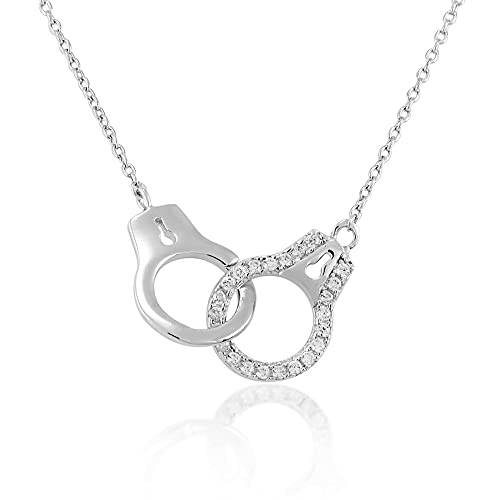 925 Sterling Silver Sparkling Cubic Zirconia CZ Handcuffs Love Chain Necklace, 18 inches