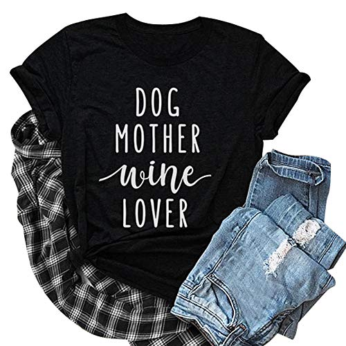 JINTING Mom Shirt for Women Funny Letter Print Shirt Funny Cute Graphic Mom Tee Shirts with Saying Black