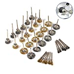 Ginode 36Pcs Brass Steel Wire Brush Set, Wire Wheel Brush Set, Buffing polishing Brushes Set, 1/8 (3mm) Shank, with 1 Stainless Steel Wire Scratch Brush, Accessories Kit for Dremel Rotary Tool