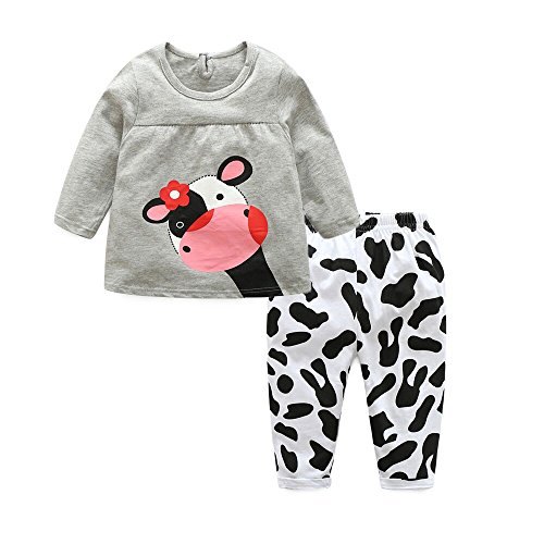 Baby Cow Outfit - Moyikiss Studio Adorable Toddler Baby Girls Clothes Sets Cow Pattern Long Sleeve 2pcs Outfits (Grey, 80/6-12 Months)
