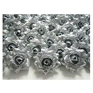 """ICRAFY 24 Silk Silver Roses Flower Head - 1.75"""" - Artificial Flowers Heads Fabric Floral Supplies Wholesale Lot for Wedding Flowers Accessories Make Bridal Hair Clips Headbands Dress 60"""