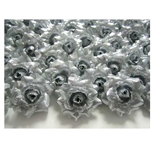 ICRAFY 24 Silk Silver Roses Flower Head - 1.75