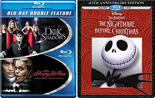 Johnny Depp Double Feature Tim Burton Blu Ray The Nightmare Before Christmas + Sleepy Hollow & Dark Shadows 3 Fantasy Action set