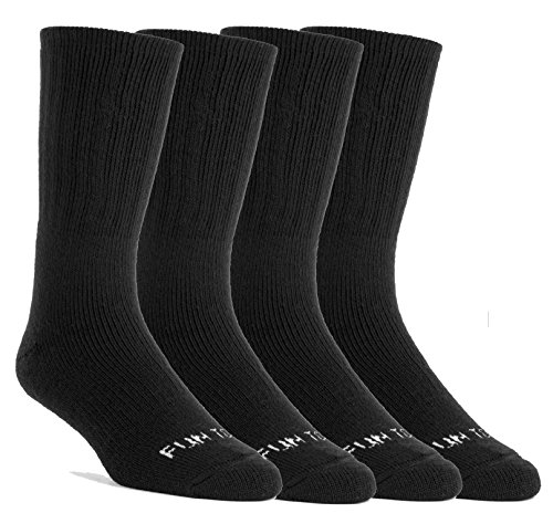 Mens Insulated Thermal Socks - FUN TOES Men's Thermal insulated Heavy Duty Premium Merino Wool Crew Socks 4 pairs (Black)