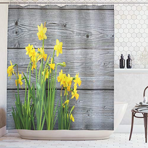 Ambesonne Yellow Flower Shower Curtain, Bouquet Daffodils on Wood Planks Gardening Rustic Country Life Theme, Fabric Bathroom Decor Set Hooks, 70 inches, Yellow -