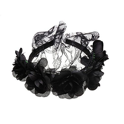 Bingirl Women Costume Elegant Fashion Rose Design Lace Veil Headwear Retro Mask for Halloween Party ()