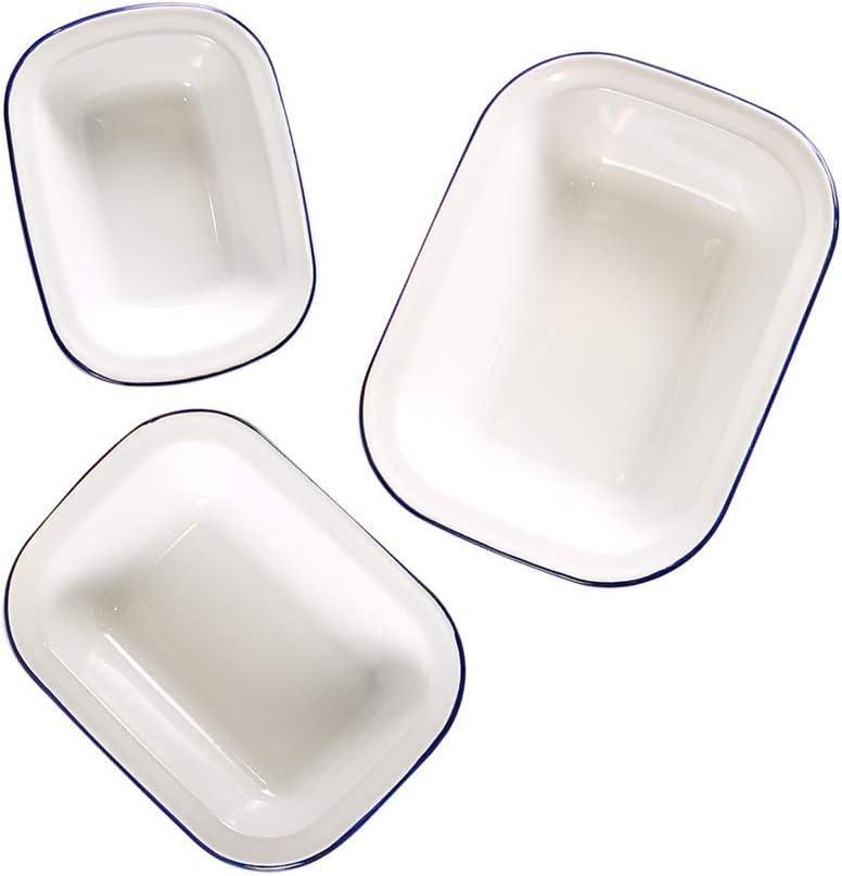 Webake - Recipientes esmaltados para tartas, 3 unidades, bandejas rectangulares, de cerámica, color blanco sólido con borde azul: Amazon.es: Hogar