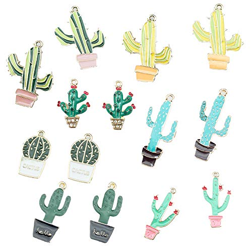 (14Pcs Cactus Tropical Theme Floating Charm Pendant Enamel Sequins Dangle Go ld Plated Dainty Ornament Synthetic Glass Living Memory for Necklace Bracelet Ankle Earring Jewelry Making)