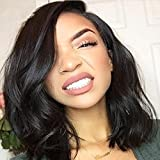 LUFFYWIG 8A Virgin Human Hair Wavy Bob Wig Lace Front Wavy Full Lace Wigs With Baby Hair Short Full Lace Front Bob Wig Natural Color for Black Women (12 Inch Full Lace Wig)