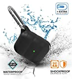 AirPods Case Cover New & Premium Waterproof & Shockproof for Apple AirPods 1 & 2 | LED Light Visible, Compatible with Wireless Charging and Includes Carabiner and Extra Blue Charge Port Strap.