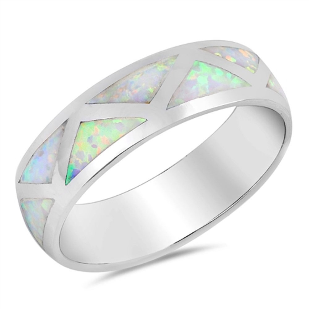 CloseoutWarehouse Triangle Patterns Row Blue Simulated Opal Ring 925 Sterling Silver Size 7