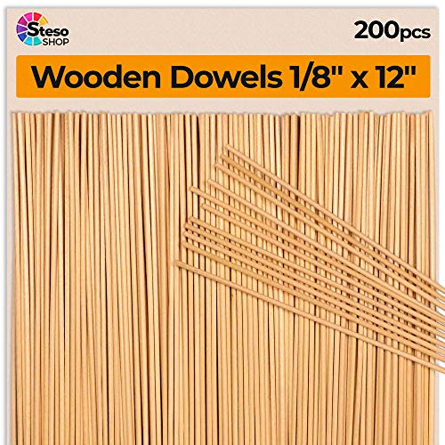 Wooden Dowel Rods 200 pcs - Wood Dowels 1/8 inch - Dowel Rod 12 inch 30cm-3mmØ - Thin Wood Dowels for Crafts - Dowel Rods 200 pcs