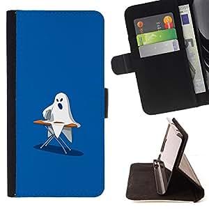 BullDog Case - FOR/Sony Xperia Z3 D6603 / - / Ghost Ironing - Funny /- Monedero de cuero de la PU Llevar cubierta de la caja con el ID Credit Card Slots Flip funda de cuer
