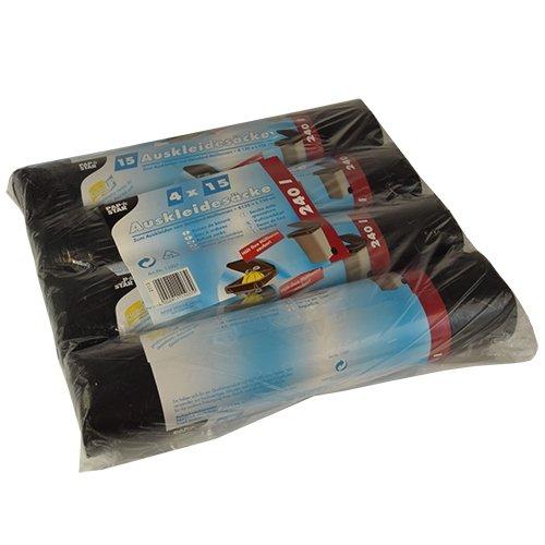 60 Auskleidesäcke für Mülltonnen 240 l 135 cm x 120 cm schwarz