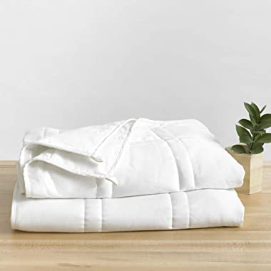 Baloo Weighted Blanket, 15 lbs, 60x80 inches, Fits Queen Size Bed TOP, Eco-Friendly Luxury, Chemical-Free, Soft Cool Cotton in Pebble White Color, Lead-Free Glass Beads, Double Quilted