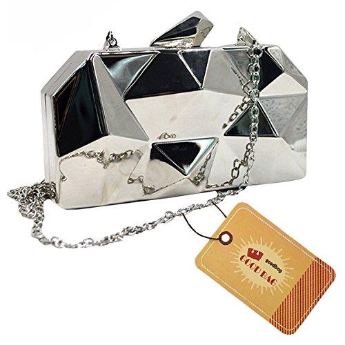 Diamond Fancy Purse (Goodbag Boutique Women Lattice Pattern Metal Handbag Girl Diamond Clutch Purse Chain Mini Shoulder Bag Silver)