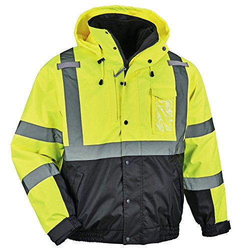 (Ergodyne GloWear 8381 High Visibility Reflective Bomber Jacket with Zip-Out Black Fleece, Large, Lime)