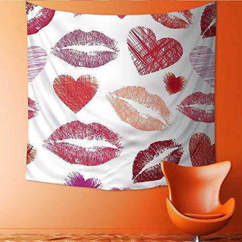 UHOO2018 Wall Hanging Tapestries Seamless avec des lèvres et le cur Large tablecloths 63W x 63L - Levres Sheer