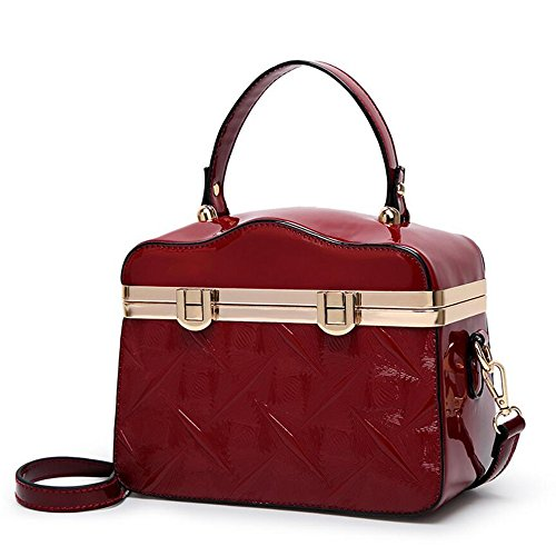 JUNBOSI Women's Bags Patent Leather Wedding/Casual Handbag Embossed Lock Buckle Shoulder Bag Square Doctor Bag Burgundy, Blue, Black (Color : Burgundy, Size : One size) by JUNBOSI