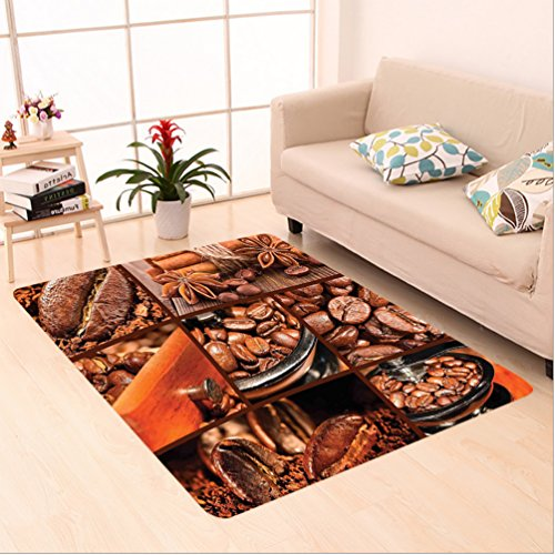 Nalahome Custom carpet own Antique Grinder Coffee Beans Chocolate Cocoa and Cinnamon Vintage Macro Collage Brown Orange area rugs for Living Dining Room Bedroom Hallway Office Carpet (22