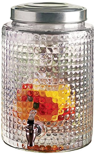 Square Cut Design Glass Beverage Drink Dispenser with Ice Insert and Fruit Infuser , 2.7 gallon, Clear