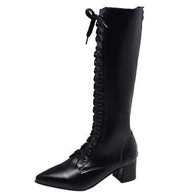 ❤ Botas largas con Cordones para Mujer, Talón Grueso Rodilla Alta Invierno Mujer Botas con Cordones Moda Bota Principal Puntiaguda Absolute: Amazon.es: ...