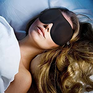 DreamyThing Sleep Mask with Carry Pouch & Earplugs Contoured Eye Mask for Travel, Migraines & Meditation