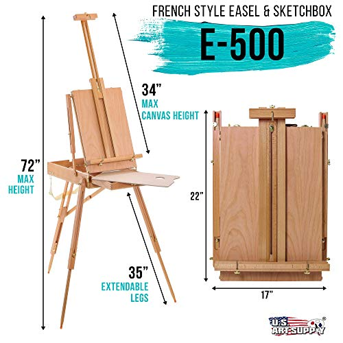 U.S. Art Supply Coronado French Style Easel & Sketchbox with 12 Drawer, Wooden Pallete & Shoulder Strap