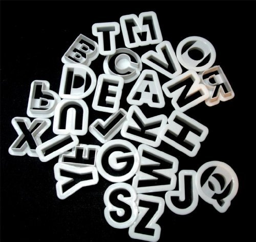 Symak k0163-X White Plastic Alphabet Cookie Cutters 1 1/2