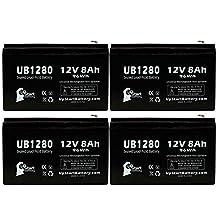 4x Pack - APC SMART-UPS XL 1400VA RM 3U SU1400RMXL3U Battery - Replacement UB1280 Universal Sealed Lead Acid Battery (12V, 8Ah, 8000mAh, F1 Terminal, AGM, SLA) - Includes 8 F1 to F2 Terminal Adapters
