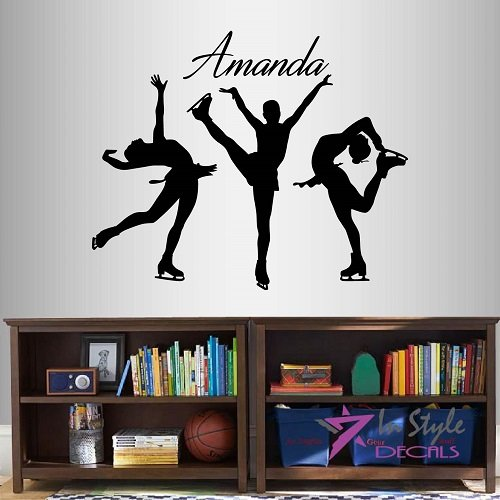 Wall Vinyl Decal Home Decor Art Sticker Figure Skating Girls Customized Name Ice Skating Sportswoman Sports Room Removable Stylish Mural Unique Design 2051