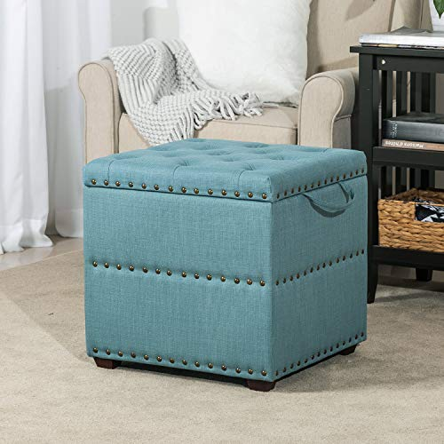 ELEGAN Fabric Square Storage Ottoman with Tray Blue