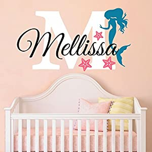 Nursery Mermaid Personalized Custom Name and Initial Wall Decal Sticker 34″ W by 24″ H, Girl Name Wall Decal, Girls Name, Mermaids Wall Decor, Girls Decor, Girls Bedroom, Plus Free Hello Door Decal