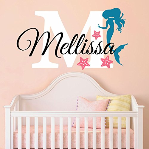 Nursery Mermaid Personalized Custom Name and Initial Wall Decal Sticker 28