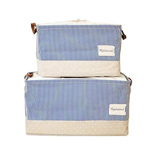 Storage Bins Toy Storage Large Canvas Baby Cloth Laundry Storage Baskets Foldable Closet Cube with Handles Set of 2 by HUABEI