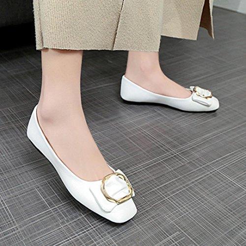 Voberry Pumps Frauen Shallow Bowknot Square Schnalle Low Heel Schuhe Wies Einzelne Schuhe