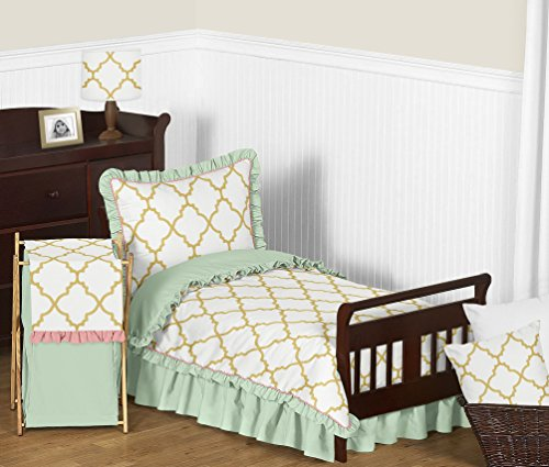 Boutique Toddler Bedding (Sweet Jojo Designs 5-Piece Ava Mint Coral White and Gold Trellis Girls Toddler Bedding Set)