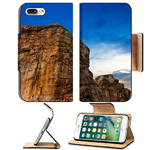 Luxlady Premium Apple iPhone 7 Plus Flip Pu Leather Wallet Case iPhone7 Plus 31593341 Hill mountain with color sky on twilight - Hill Spring Shopping
