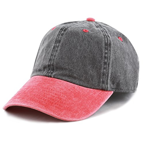 The Hat Depot Cotton Pigment Dyed Two Tone Low Profile Six Panel Plain Cap (Black Red)