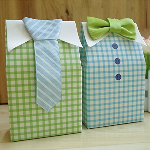 Saasiiyo 20 Pieces Little Man Bluegreen Bow-tie Birthday Boy Baby Shower Favor Candy Treat Bag Wedding Favors Candy Box Gift (Milk Delivery Man Costume)