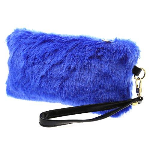 Sapphire Handbag - Amrka Elegant Women Wallet Purse Faux Fur Wedding Party Handbag Lady Evening Bag Tote (Sapphire Blue)