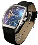 Sewor Mens Dress Automatic Moonphase Mechanical Leather Sports Watches C1025 Black Dial (Glass coating blue)