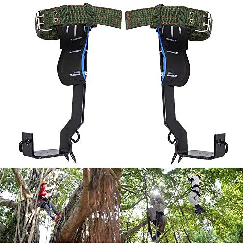Kqiang 2 Gears Tree Pole Climbing Spike Set Safety Adjustable Lanyard Rope Rescue Belt