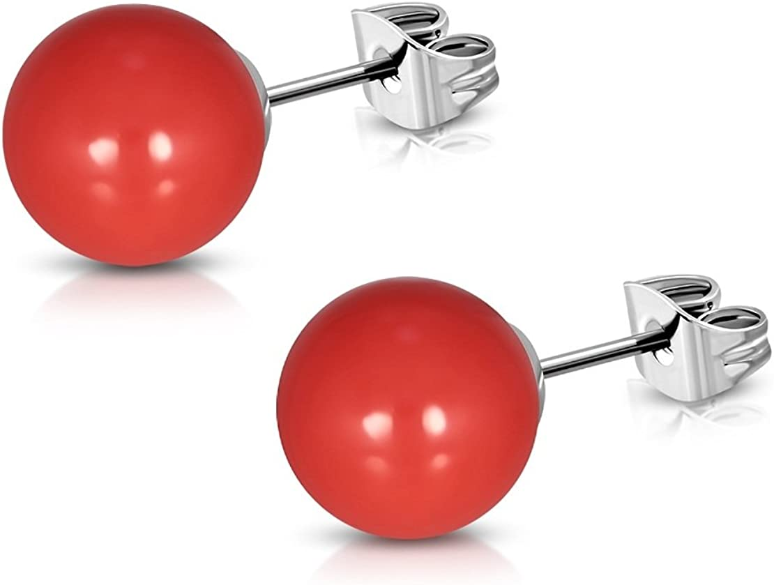 pair Stainless Steel Red Coral Resin Faux Pearl Bead Ball Stud Earrings