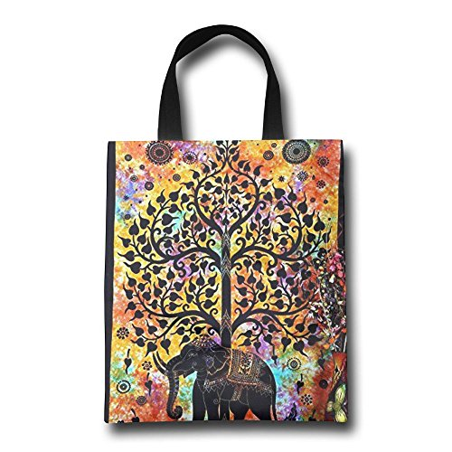 GJOHKRT Shopping Handle Bags -Elephant Tree Good Luck Personalized Tote Bag