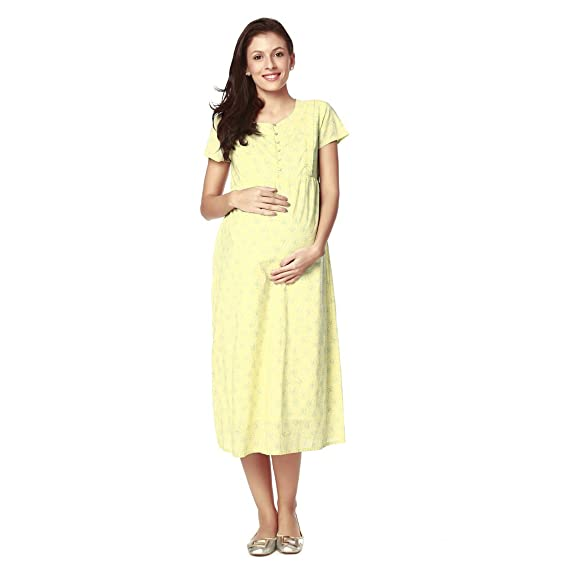 e0b5404fdc2 Nine Maternity Wear Printed Nursing Gown  Amazon.in  Clothing   Accessories